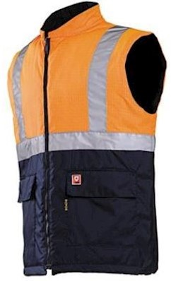 Sioen 1666 Bravone bodywarmer - fluo oranje/marineblauw - m