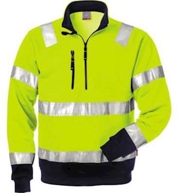 Fristads Kansas 728 BPV sweater - fluo geel/marineblauw - l