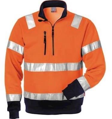 Fristads Kansas 728 BPV sweater - fluo oranje/marineblauw - s