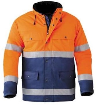 HAVEP 4133 parka - fluo oranje/marineblauw - m