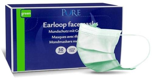 Pure mondmasker met elastiek groen